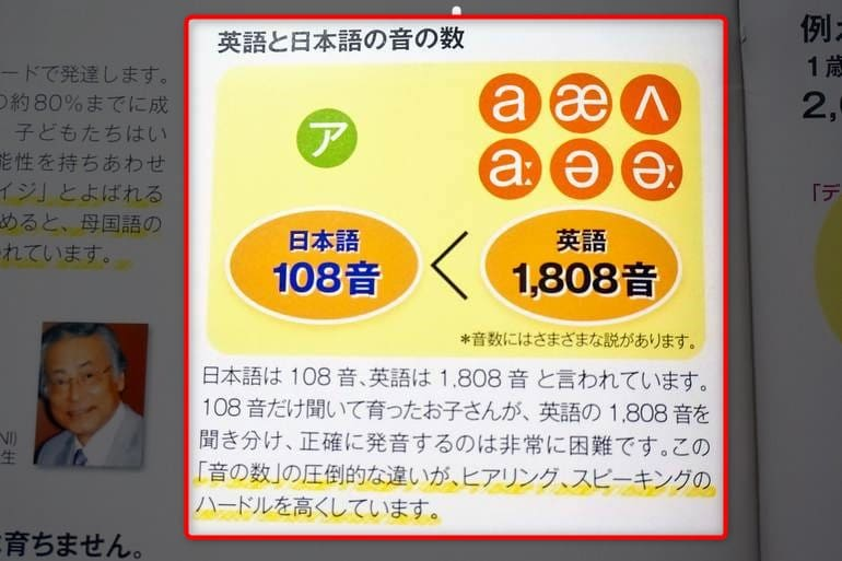 ディズニー英語システム カタログ 英語の日本語の音の数