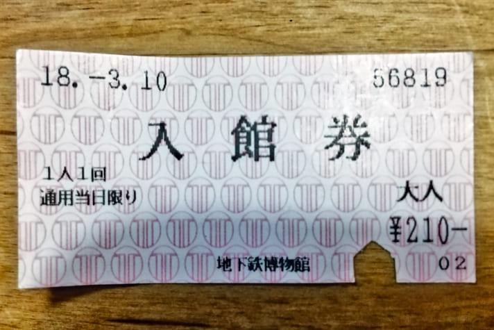 地下鉄博物館(ちかはく)入館券大人210円