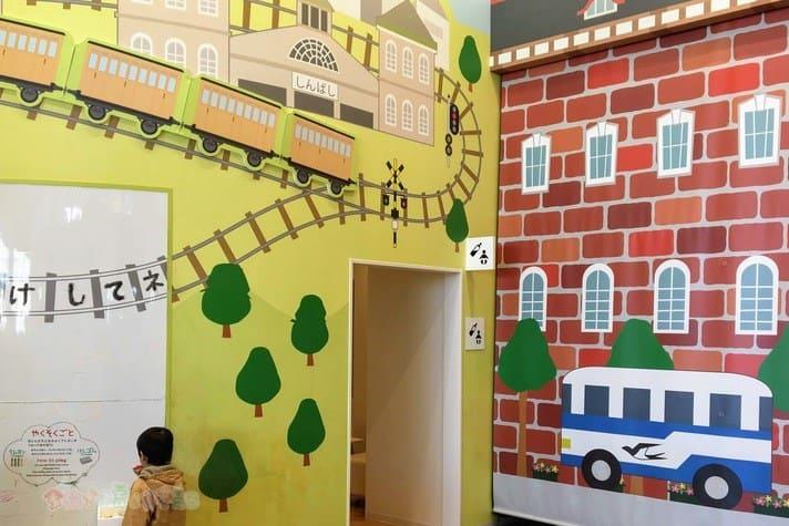 鉄道博物館(大宮)キッズプラザのなりきりゾーン 壁デザイン