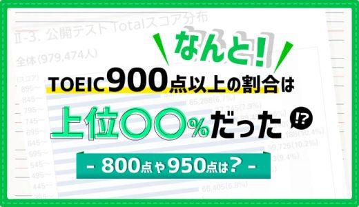 なんと!TOEIC900点以上の割合は上位〇〇%だった【800点や950点は?】